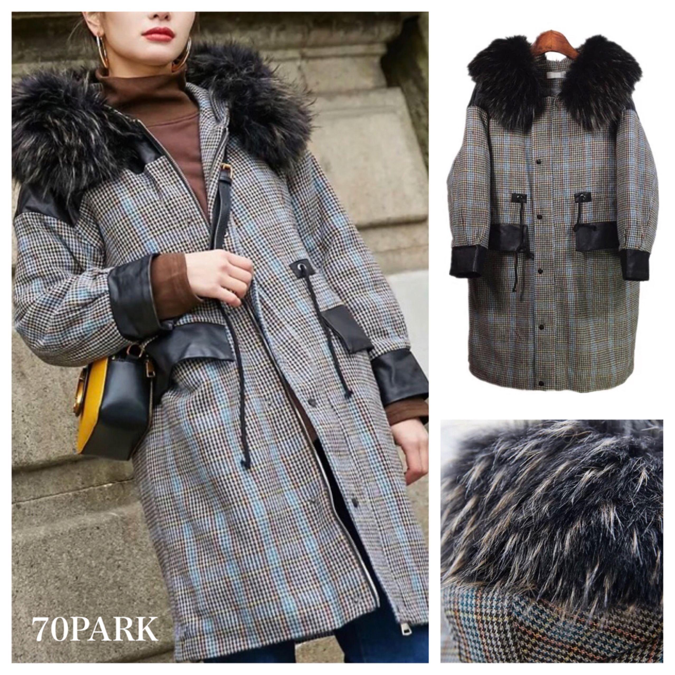#Check Hooded Coat  レザー切り替え ボリュームファー チェック柄 ロング コート 黒 フーディー
