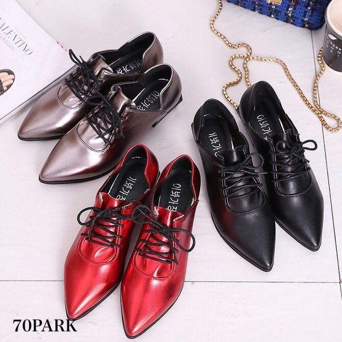 #Metallic Pointed Toe Shoes メタリック ポインテッドトゥ シューズ 全3色 レースアップ