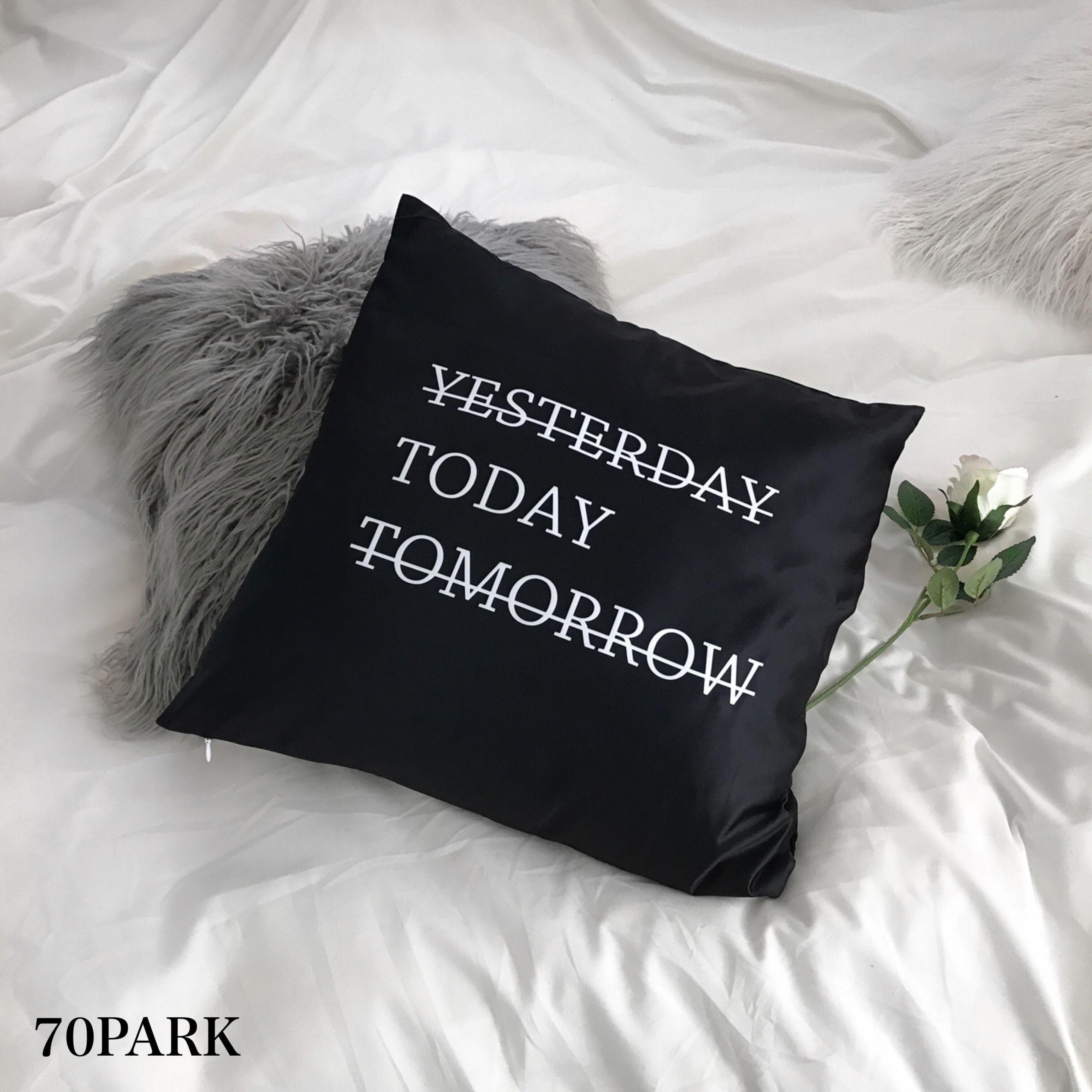 """#""""Today"""" Monochrome Cushion Cover  レタリング モノトーン クッションカバー 白黒"""