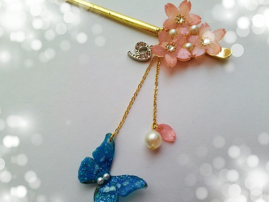 桜と蝶の9かんざし
