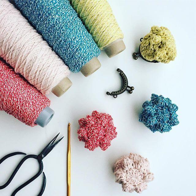 saredoのitoで編む かなりちいさなつぶつぶがまぐち 編み図つきキット