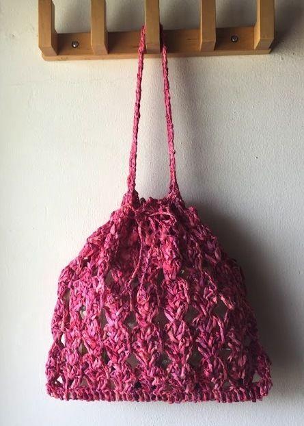 送料込み リーフィーで編むリーフ模様のきんちゃくー印刷済み編み図のみ