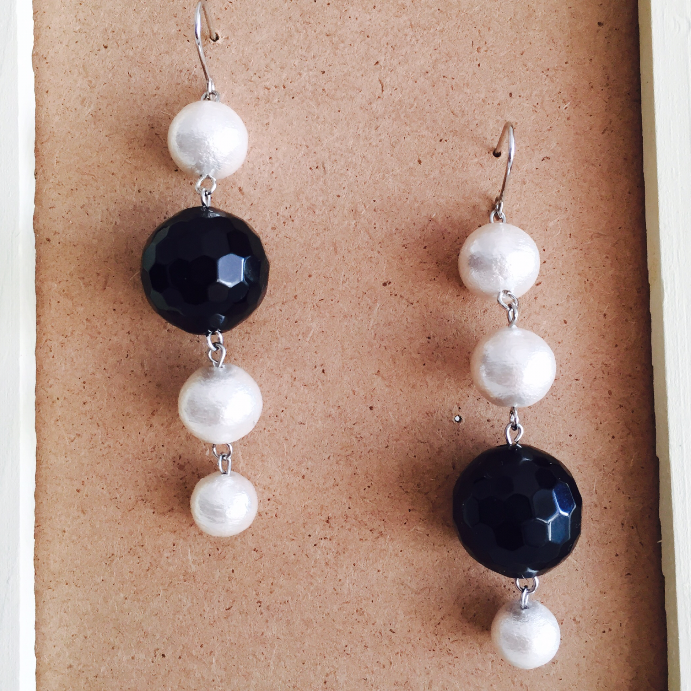 onyx & pearl  earrings