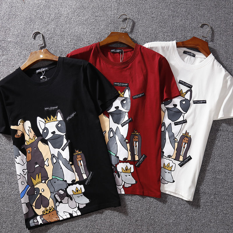 【Agemi  STORE】ドルチェ&ガッバーナ    Tシャツ    半袖    トップス    プリント   age-8066