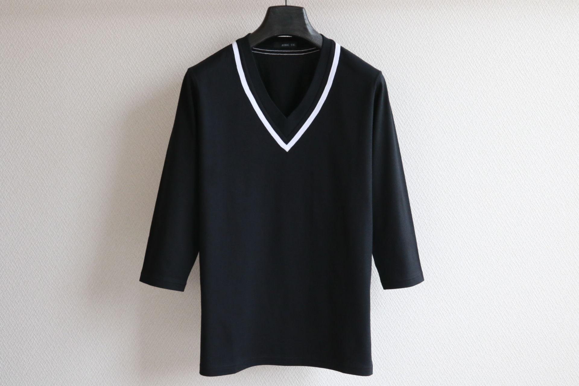 Vネックライン 七分袖カットソー BK