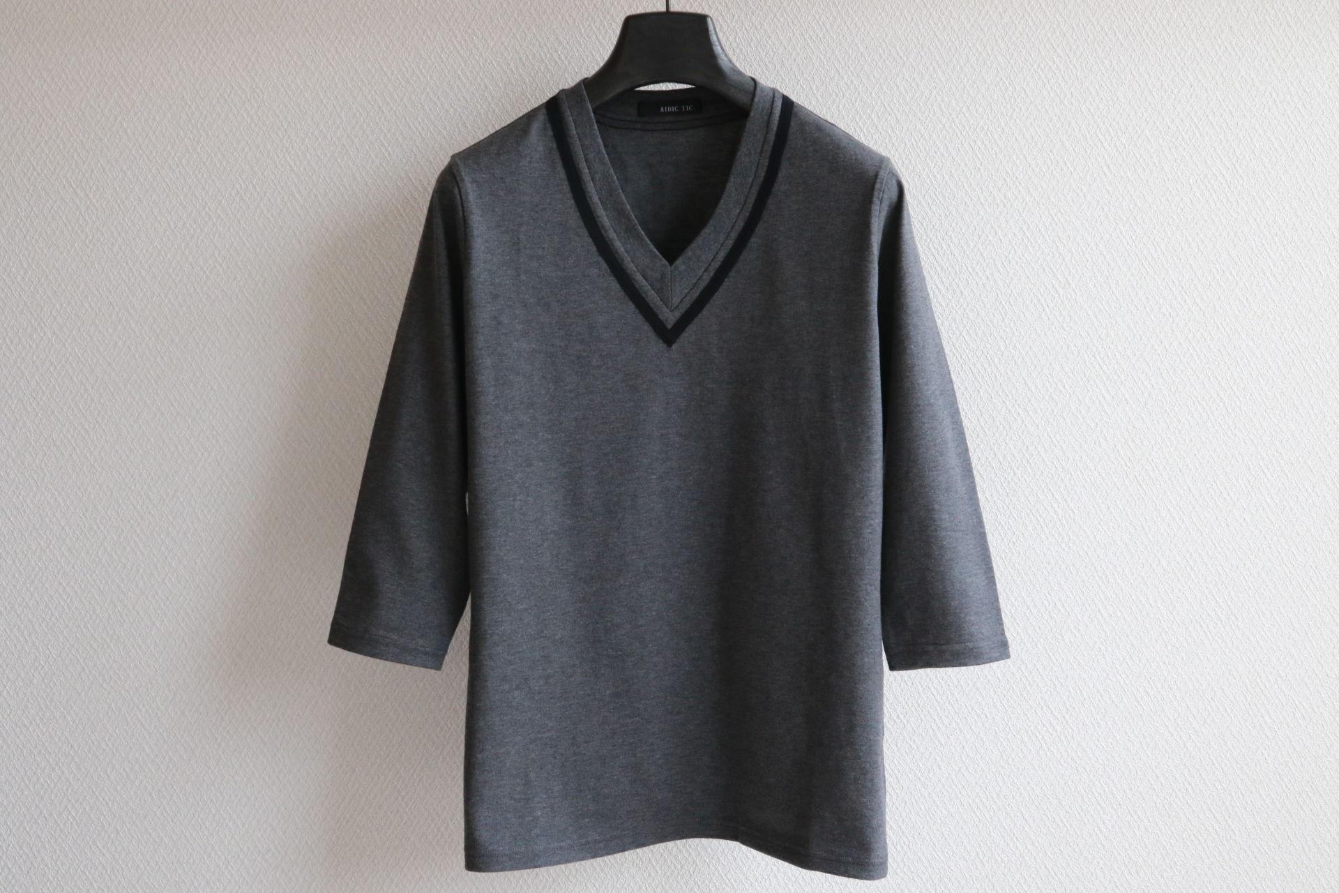 Vネックライン 七分袖カットソー CG