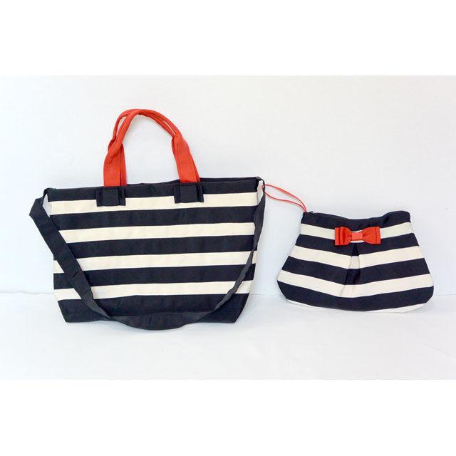 BAG&POECH SET(MOTHERS BAG 細ボーダークロ×クリーム)