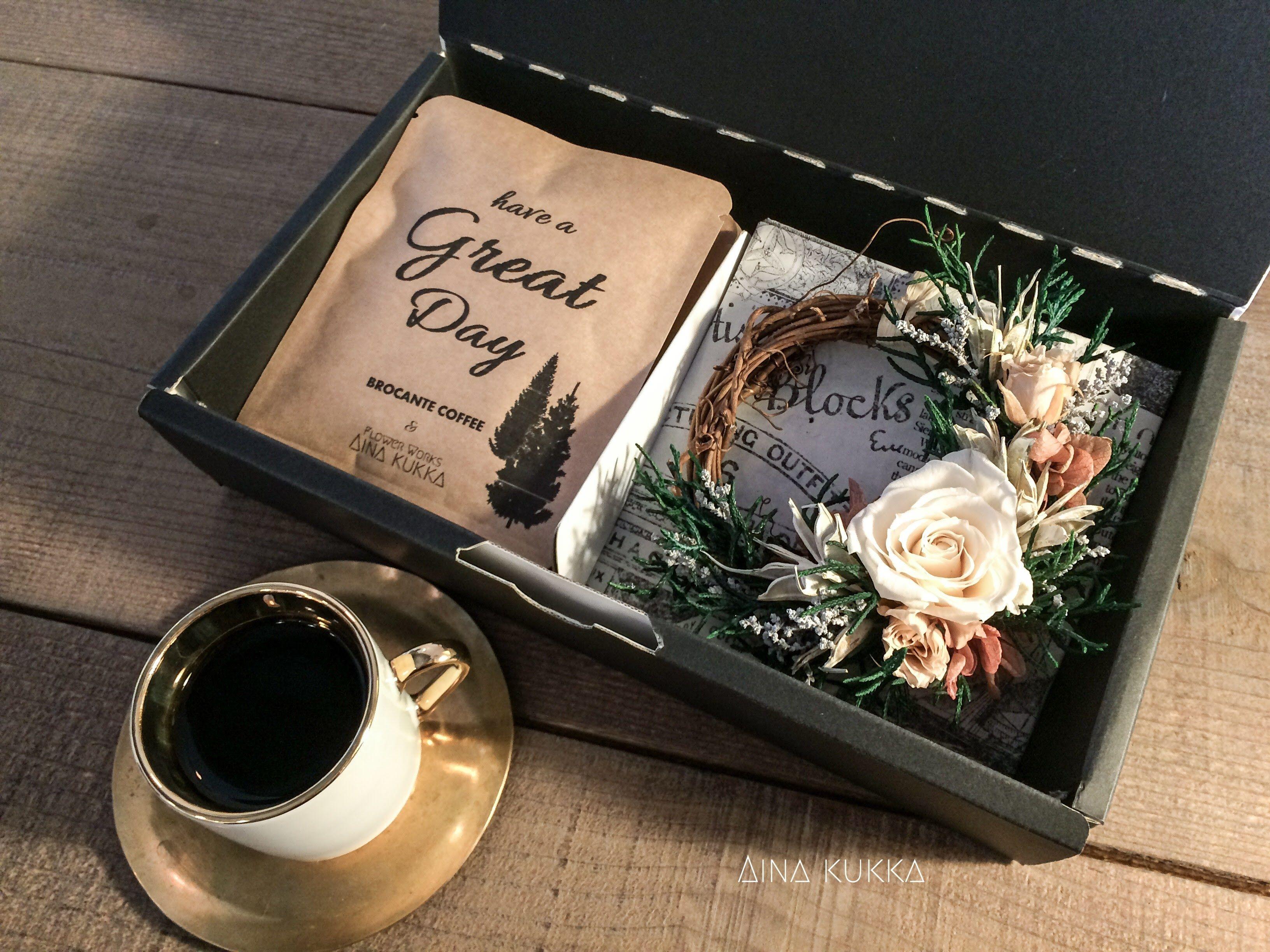 X'mas[Flower & Coffee SET]ミニリース(ウォッシュドアンティーク)+メッセージドリップバック2種5個BOX入セット
