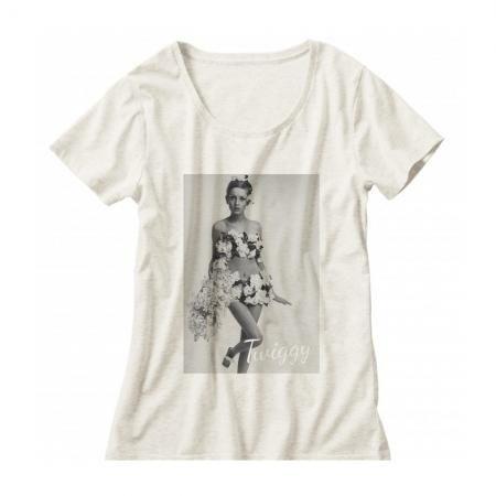 60年代ファッションアイコン ツイッギークルーネックレディーズTシャツ004