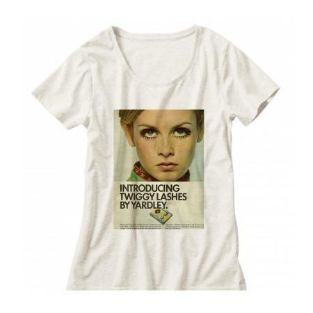 60年代ファッションアイコン ツイッギークルーネックレディーズTシャツ001