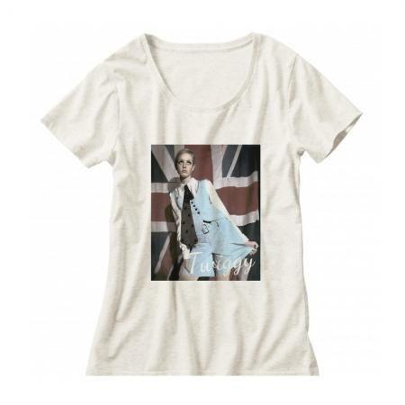 60年代ファッションアイコン ツイッギークルーネックレディーズTシャツ002