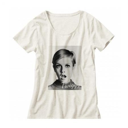 60年代ファッションアイコン ツイッギークルーネックレディーズTシャツ003
