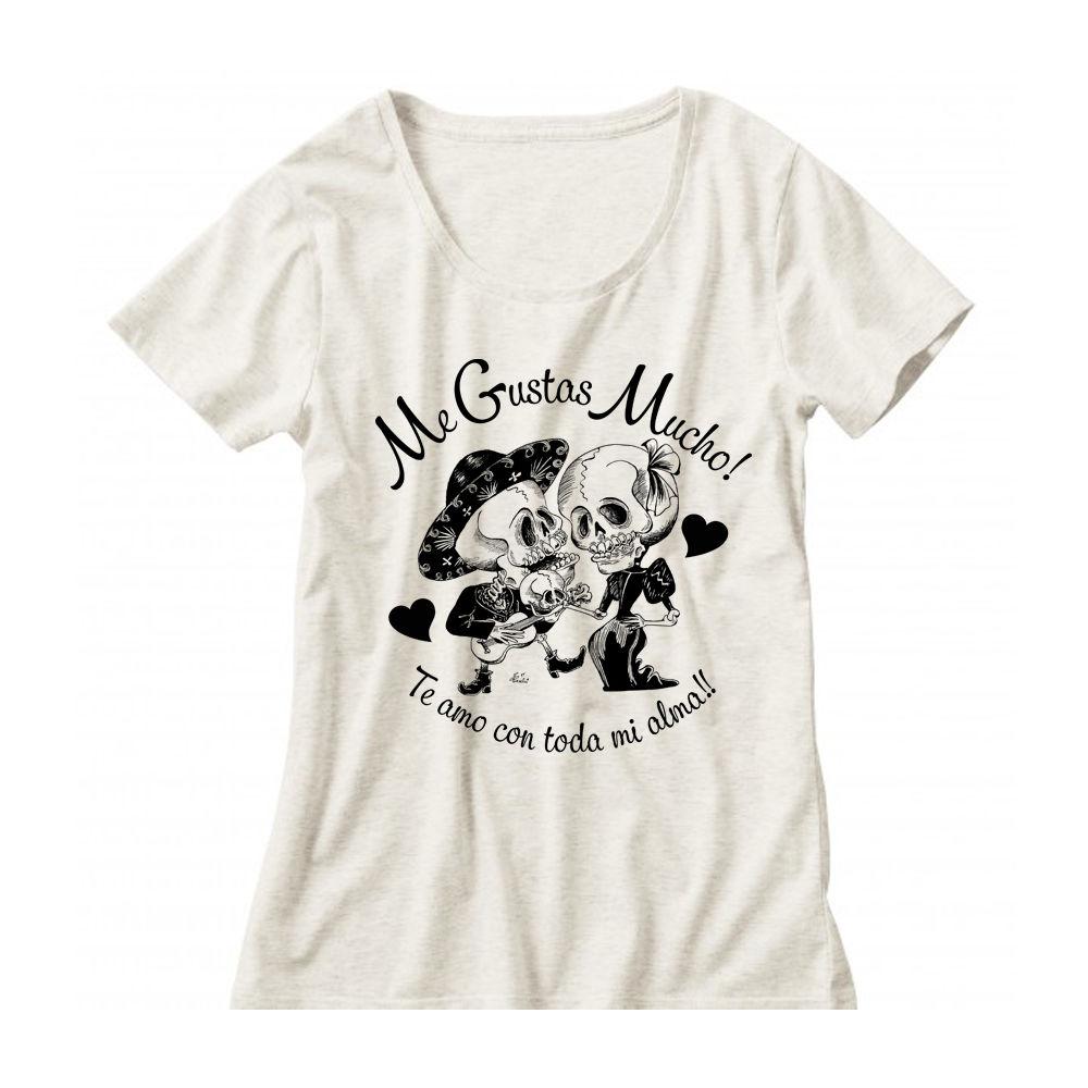 西海岸メキシカンスカル「カラベラ」クルーネックレディーズTシャツ02