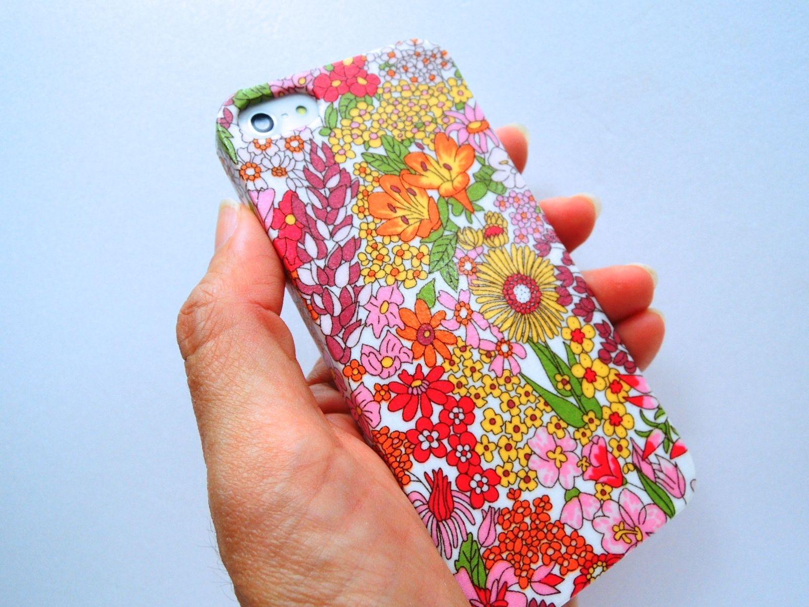 iPhoneSE/5sケース/リバティ・マーガレットアニー・オレンジ