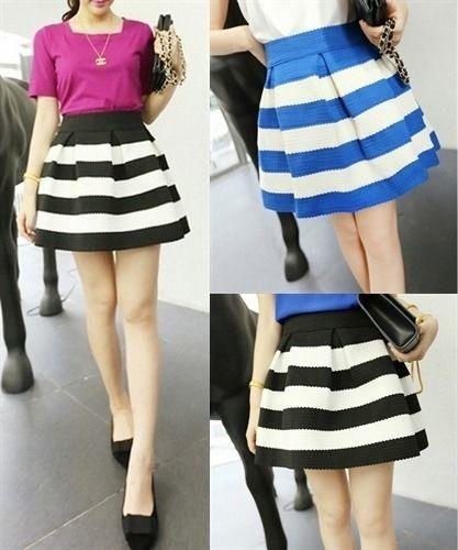 ボーダー柄 フレア サーキュラースカート 韓国ファッション