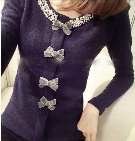 カーディガン風ニット ビジュー リボンつき 韓国ファッション