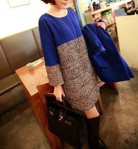 カジュアル バイカラーワンピース 韓国ファッション