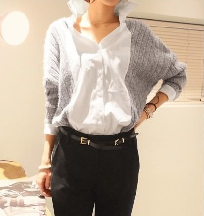 ドルマンスリーブ ニット切り替えブラウス 韓国ファッション