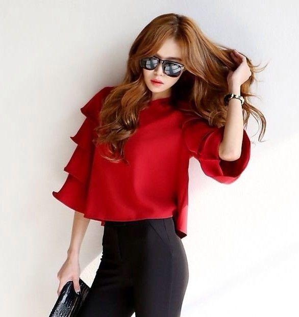 袖フレア サテントップス 韓国ファッション