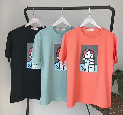 [NEW]韓国風デザインTシャツ 3カラー