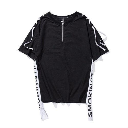 [スタイリッシュ]SMOKINGデザイン紐付きTシャツ 2カラー