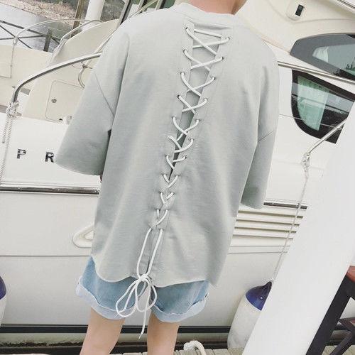 [GOOD]ロング紐バックデザインTシャツ 3カラー