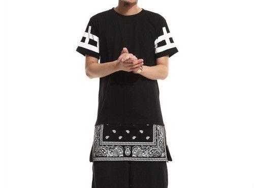 [GOOD]ロング丈バンダナデザインTシャツ 2カラー