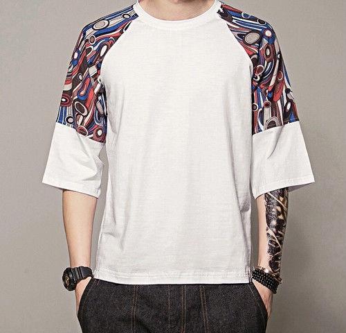 [売り切れ間近]幾何学模様五分丈Tシャツ 3カラー