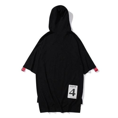 [HOT]紐ベルト付きフードビックサイズTシャツ 2カラー