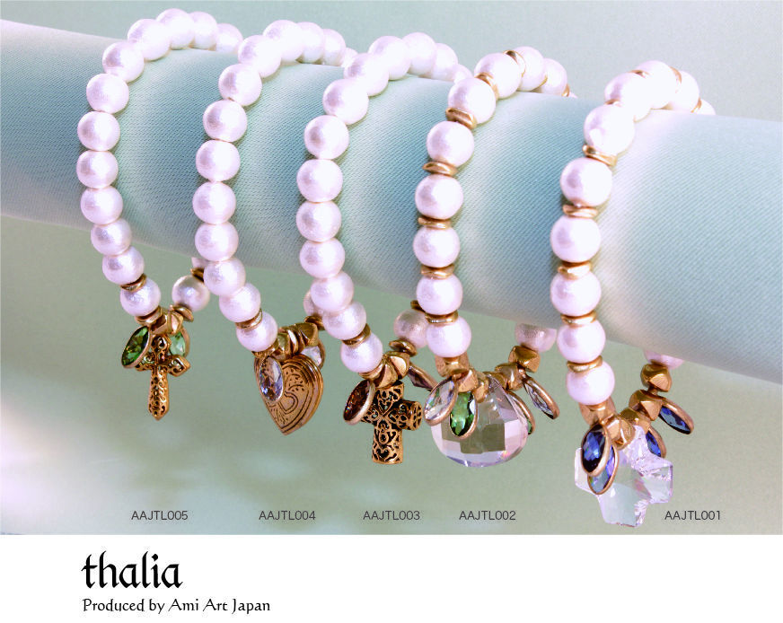 新春セール thalia Produced by Ami Art Japan (アミアートジャパン)コットンパールブレスレット  レディース AAJTL13003, 004, 005