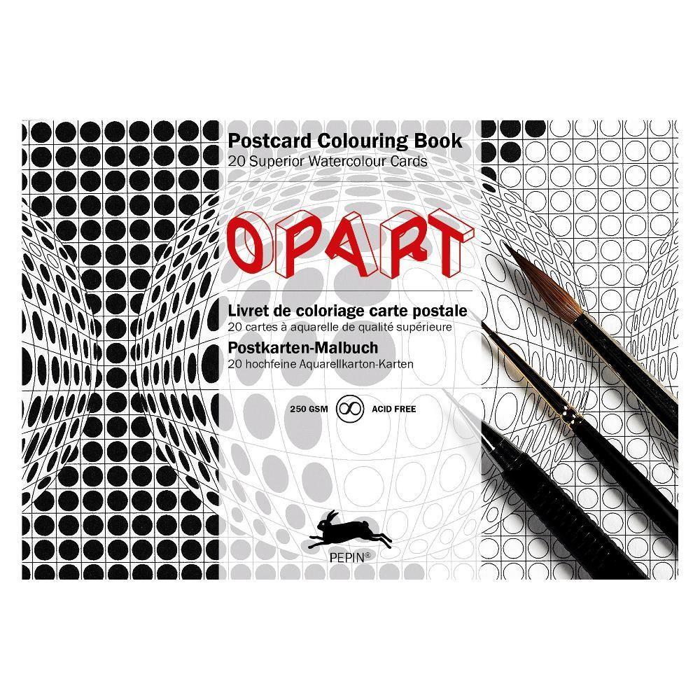 PEPIN 大人のぬり絵ポストカードブック(オプアート)20枚セット