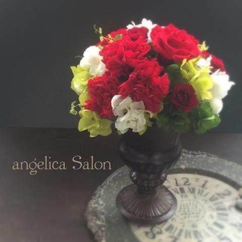 ビジネスギフトに・お誕生日に 赤いカーネーション・バラ あじさい、白いイチゴ草のプリザーブドフラワーアレンジ・還暦祝い