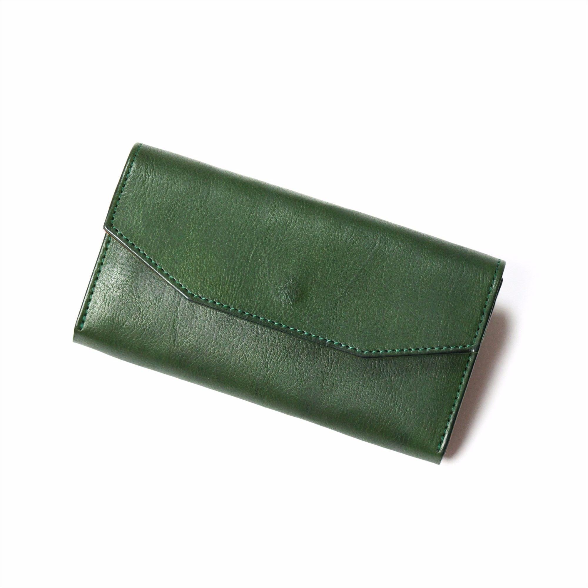 ANNAK ギャルソン型長財布 配色タイプ グリーン×ベージュ AK14TA-B0039