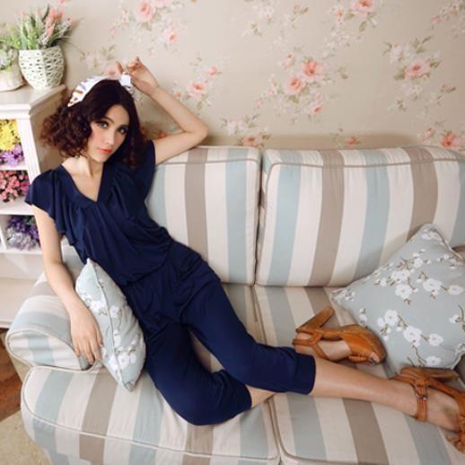 【即納】ネイビーブルー紺半袖VネックオールインワンパンツドレスCjsoy-b90