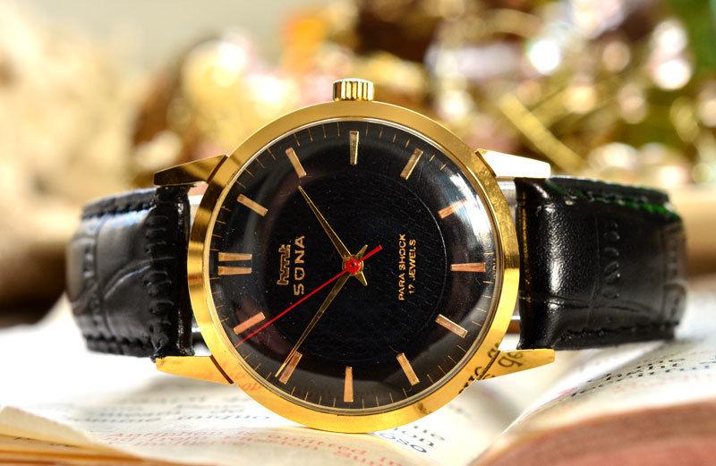 HMT SONA 手巻き 機械式 腕時計 デッドストック級 黒