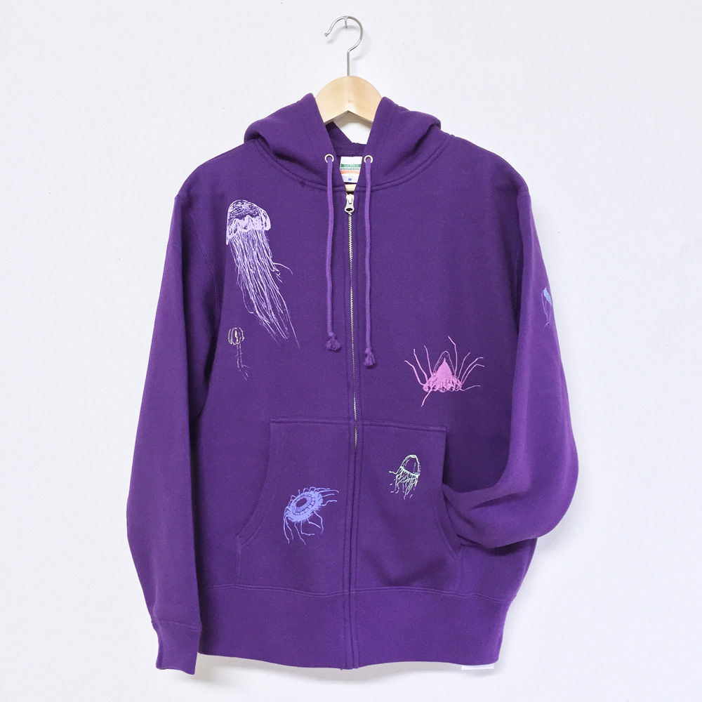 パーカー(裏起毛)深海のクラゲたち 紫 パープル