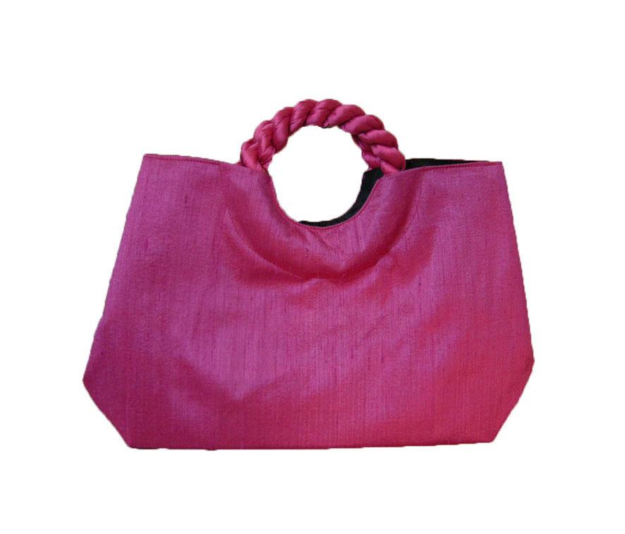 シルクバッグ ピンク (セカンドバッグ ハンドバッグ 絹 浴衣 ホワイトジーンズ 贈り物)