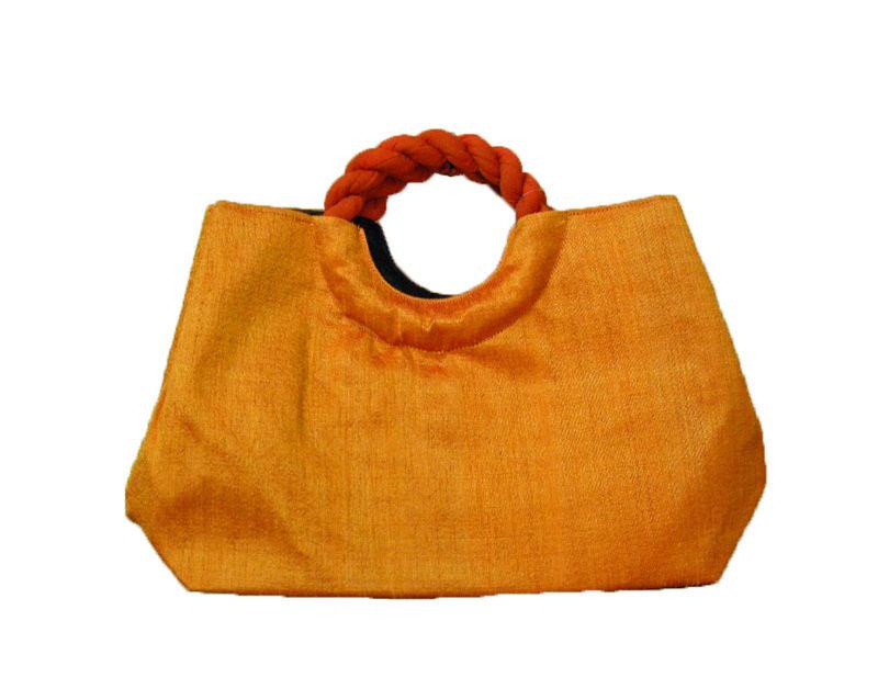 シルクバッグ オレンジ(セカンドバッグ オレンジ デニム 絹 着物 浴衣)