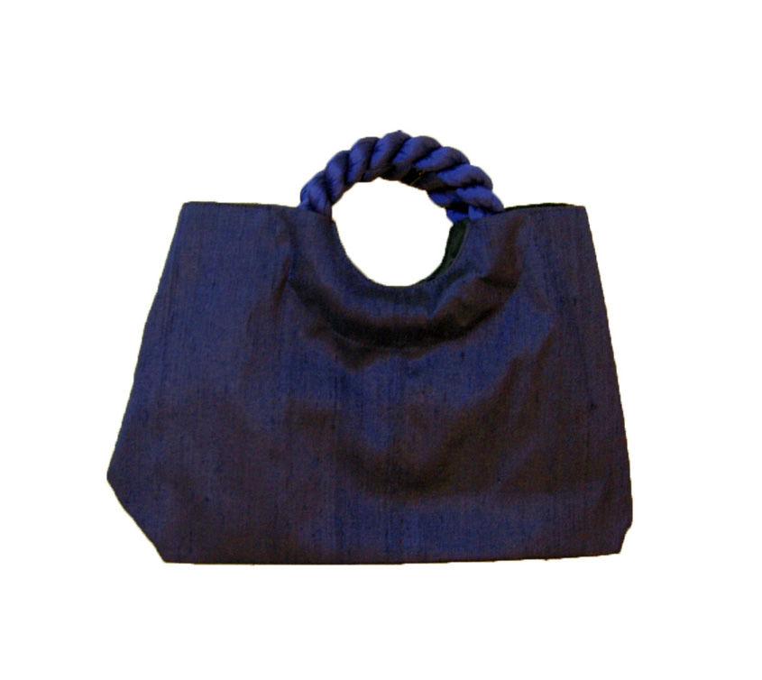 シルクバッグ ネイビ- (ハンドバッグ セカンドバッグ シルク 絹 贈り物 浴衣)