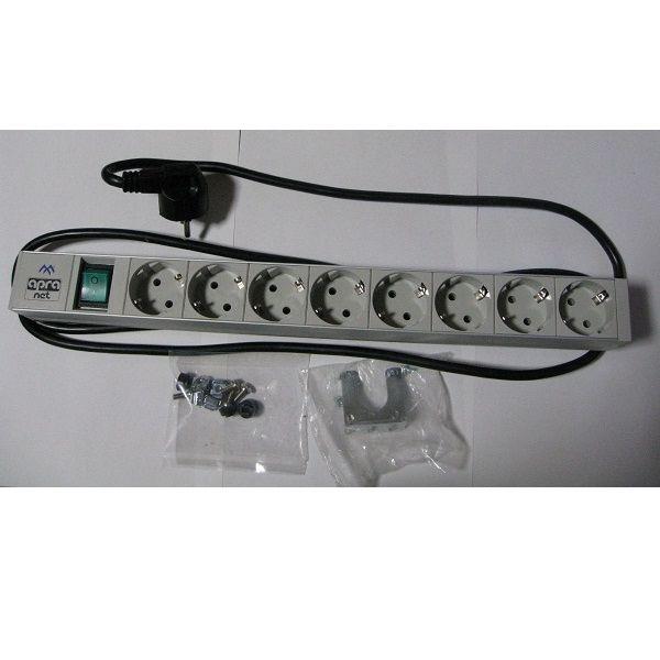 ヨーロッパ規格対応8極ACアウトレット スイッチ付き