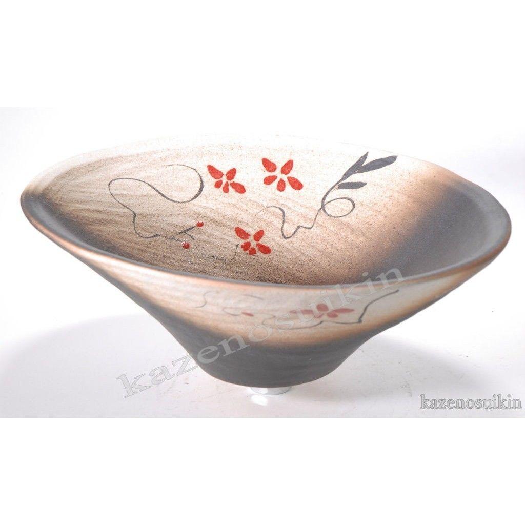 赤絵付楕円手洗鉢(器具付) (信楽焼・陶器・手洗い鉢)P8066-04