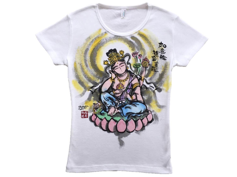 【手描きTシャツ】如意輪観音 彩色   レディース