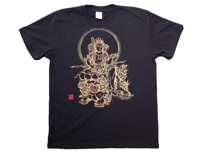 【手描きTシャツ】文殊菩薩 黒 綿生地