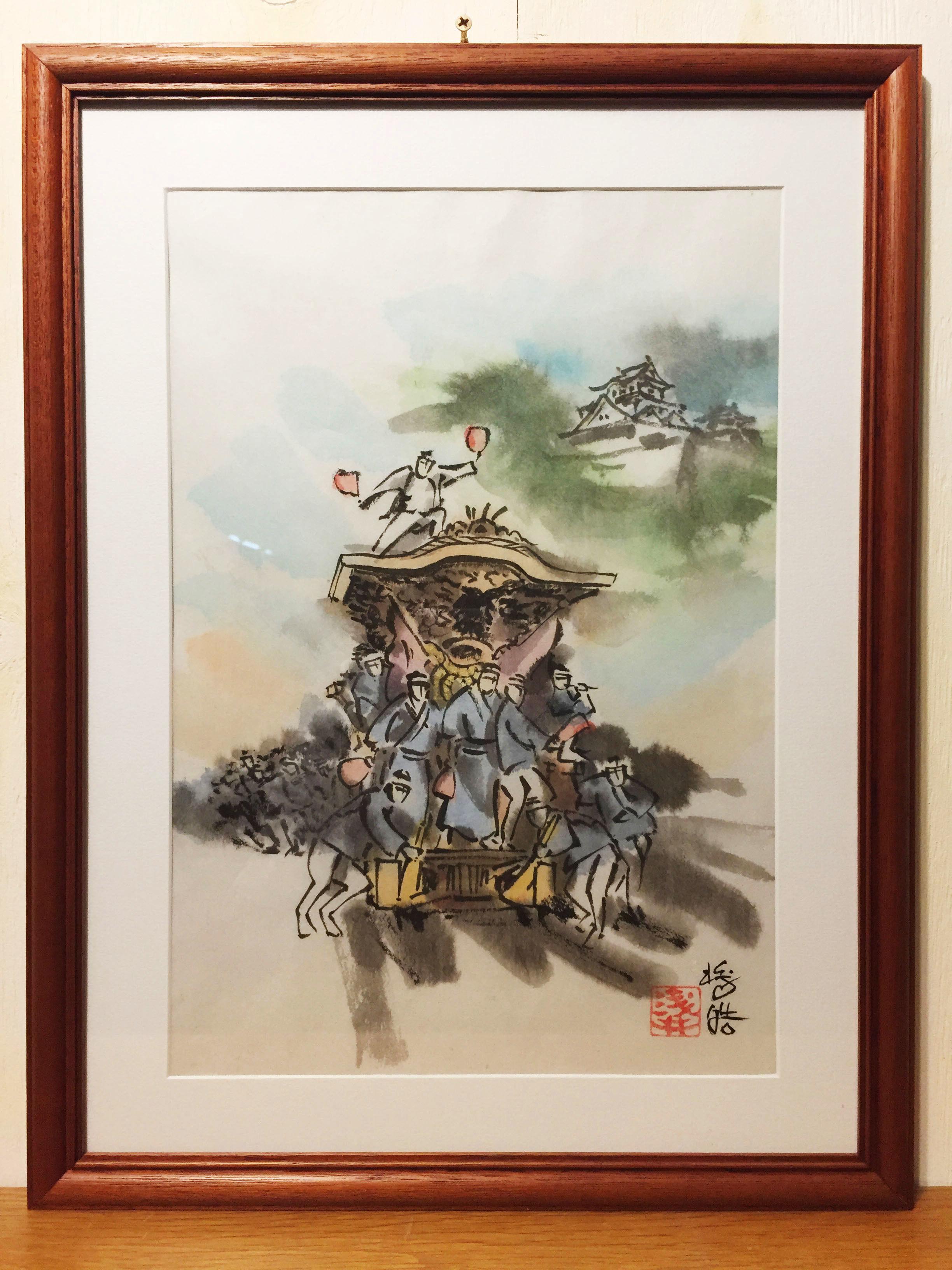 【手描きアート 原画】だんじり1 45.3cm × 35cm