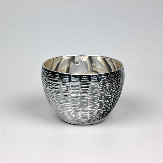 純銀ぐい呑み Cタイプ並型ゴザ目