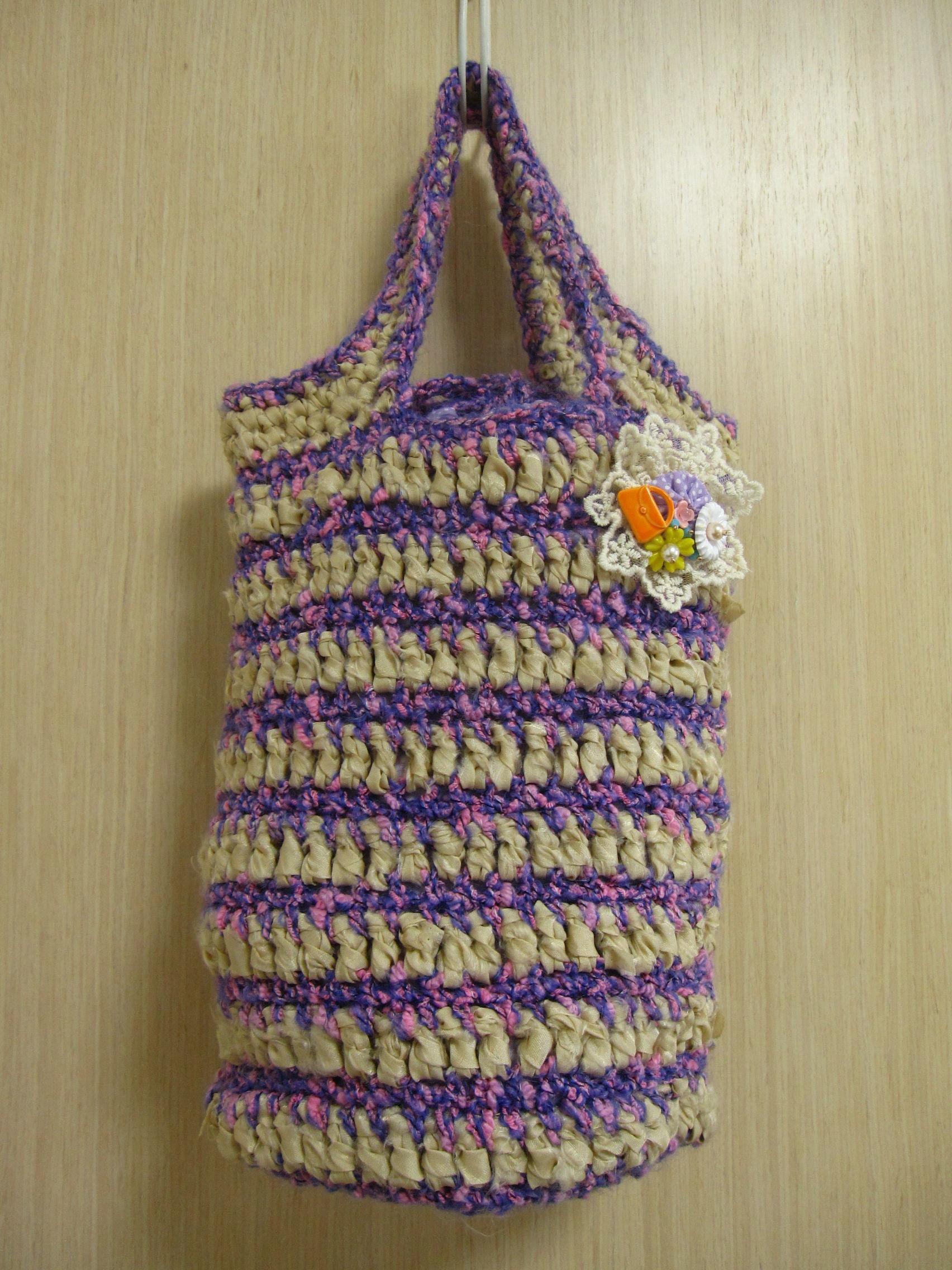 裂き生地と綿毛糸のニットバッグ(薄紫×ベージュ)