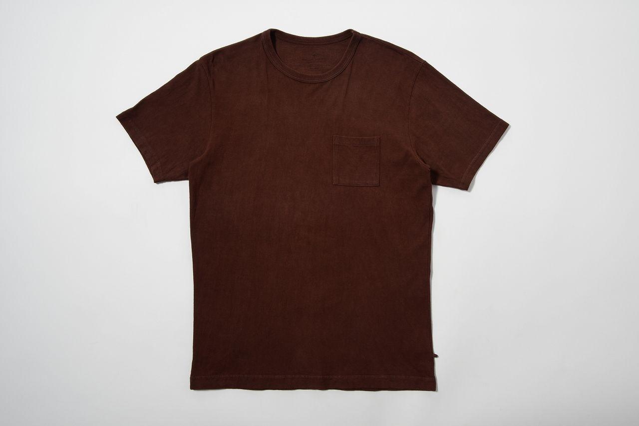 USAコットン16/-吊り編み天竺×奄美大島泥染めポケットTシャツ 赤茶泥