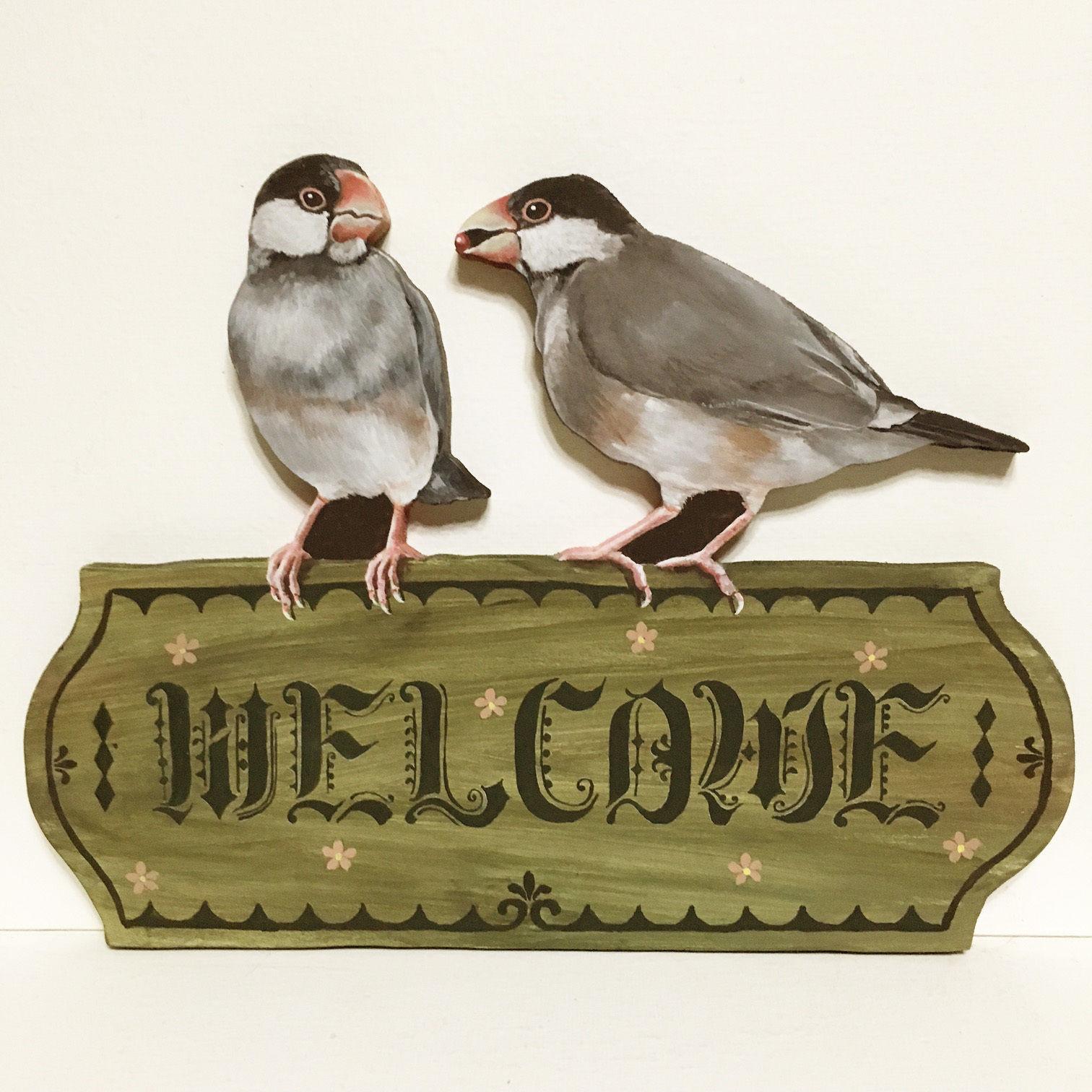 桜文鳥-ウェルカムボード