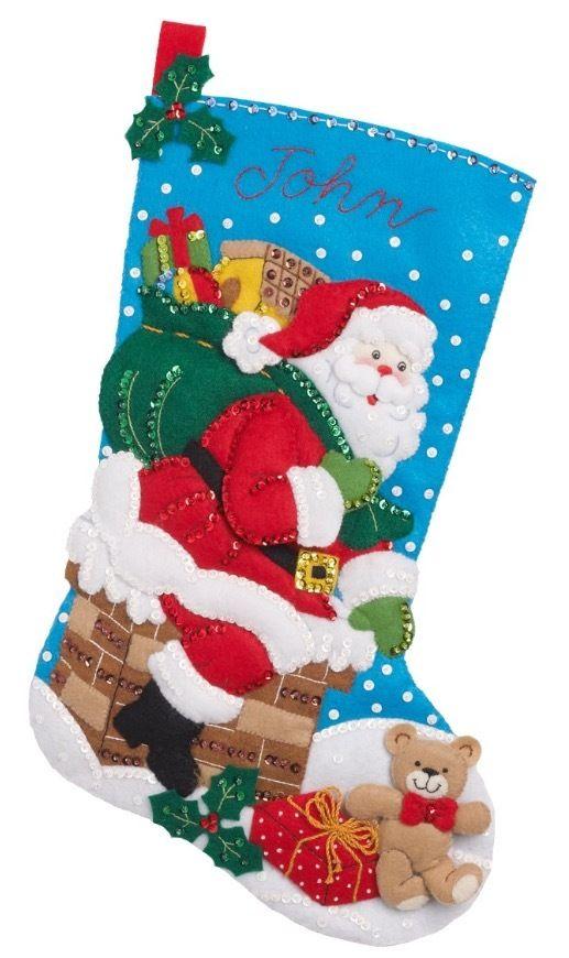 Bucilla 「Down The Chimney」 クリスマスフェルトストッキングキット