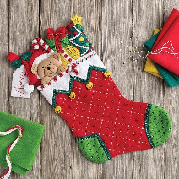 「Holiday Teddy 」Bucilla ブシラ クリスマス ハンドメイド フェルト くつ下 ソックス  ストッキング キット